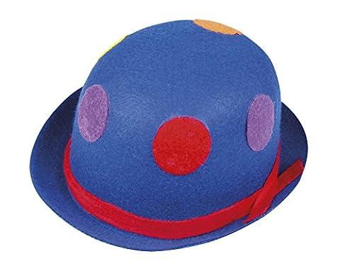 erdbeerclown - Karneval Kostüm Hut Clown Melone Bowler, Blau (Deutschen Offizier Hut Kostüm)