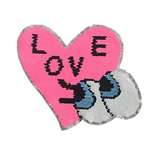 Floridivy Frauen-Doppelt-Seiten-Kleidung Paste Herz Augen Liebe Pailletten Applikation Kinder nett Kostüm Patches (Reversible Kinder Kostüme)