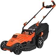 BLACK+DECKER BEMW461BH-GB Electric 1400-Watt, 13 Inch Winged Blade, 40L Grassbox Lawn Mower with Bike Handle (