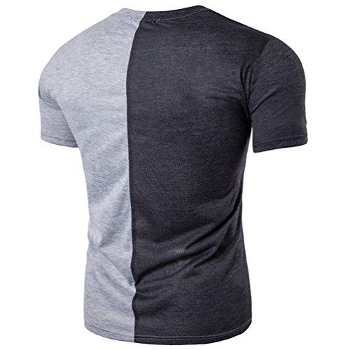 ZhiYuanAN Herren T-Shirt Mode Persönlichkeit Hip-Hop Stil Shirt Farbe  Stitching Kurze Ärmel ...