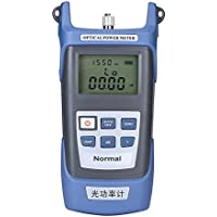 Aramox Medidor de potencia de fibra óptica -70dBm a + 10dBm portátil óptico medidor de potencia con conector SC/FC