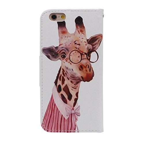 Schutzhülle Apple iPhone 6S Plus Hülle, PU Leder Geldbörse Brieftasche Case Unterstützen Feature Wildes Tier Muster Serie Verschiedene Farbe Schutzhülle für iPhone 6 Plus / 6S Plus 5.5 inch - Tiger a4