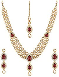 Andaaz Gold Plated Kundan Traditional Necklace Jewellery Set With Earrings For Women