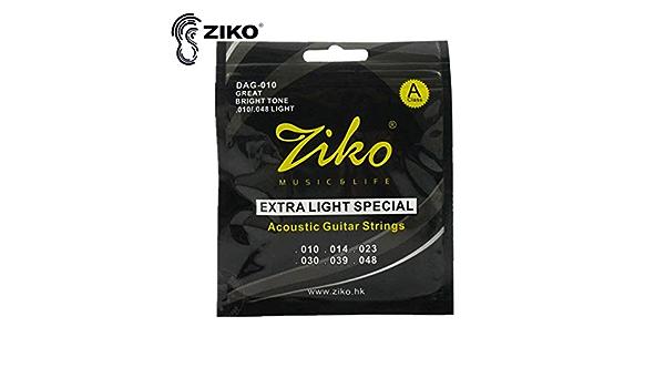 6 Saiten//S/ätze ZIKO DAG 010-011 akustische Gitarrensaiten akustische Musikinstrumente der Teile der Gitarrensaite kupferfarben