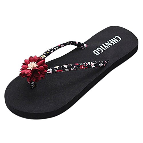 KonJin Flip Flops for Women Summer Lightweight Slippers Sandals Comfy Shoes for Beach Red Patent Peep Toe Pumps