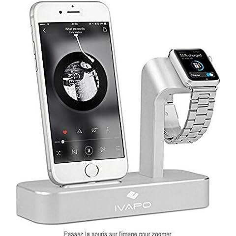 iVAPO 2 en 1 Aluminio Sólido Carga del iPhone de Apple y la Estación del Soporte del Reloj Muelle de la Horquilla para el iPhone SE / 5 / 5s / 6 / 6s / 6Plus / 6s Plus/ 7/7 Plus
