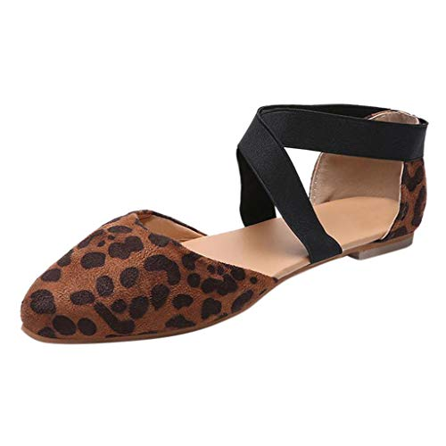(BHYDRY Frauen-Damenmode spitze flache Leopard-beiläufige Sandalen-einzelne Schuhe(41,Braun)