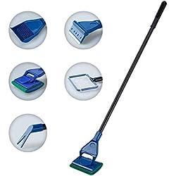 Covvy Hohe Qualität 5 in 1 Aquarium Reinigung Werkzeug Set Fischnetz + Kiesrechen + Algen Schaber + Float Gabel + Schwamm zur Reinigung Aquarium Bettgestell Gabel Kies