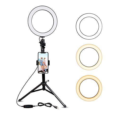 Selfie-Ring-Licht mit Stativ und Handy-Halterung für Live Stream/Makeup, Mini-LED-Kamera, Ringlicht für Youtube, Video/Fotografie, kompatibel mit iPhone Xs Max XR 8 7 Plus X Android