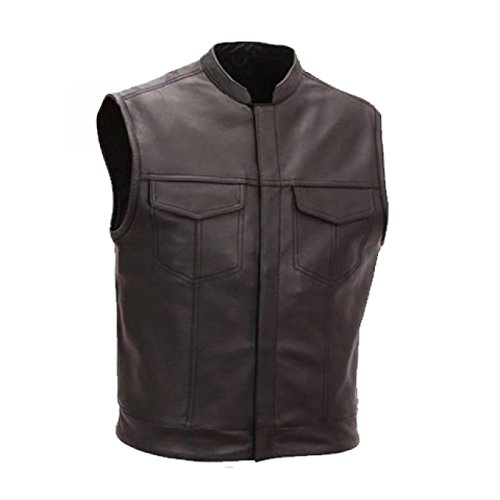 Australian-Bikers-Gear-Gilet-in-pelle-smanicato-per-moto-stile-SOA-Sons-Of-Anarchy-L