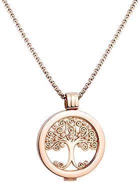 U&D Damen Schmuck Small Coin Lebensbaum 25mm Coin Rosegold und Edelstahl Ketten 65cm Coin Set mythisches und religiöses...
