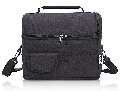 Putwo borsa termica pranzo, 8l porta pranzo termico, borsa termica piccola, borsetta porta pranzo termica, borsa frigo tracolla, borsa pasto, borsa portapranzo per lavoro e picnic- nero