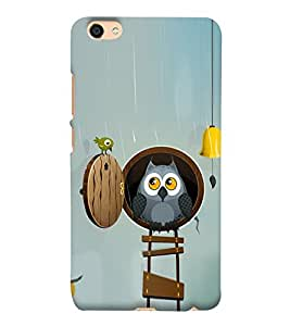 Cute Owl and a Bird 3D Hard Polycarbonate Designer Back Case Cover for vivo Y55L