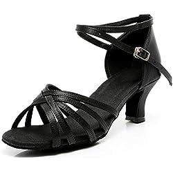 VASHCAME-Zapatos de Baile Latino de Tacón Alto/Medio para Mujer Negro 40 (Tacón-5cm)