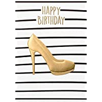 Black & Gold Birthday Card - Shoe - 11.6 x 16.6 cm