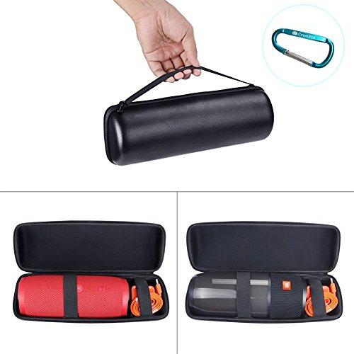 Meijunter Schutzhülle Tragbar Tragen Hart Etui Hülle Schale Stoßfest Beutel Tasche Case Cover Bag für JBL Pulse 3/ JBL Charge 3 Bluetooth-Lautsprecher(Farbe schwarz,Platz für Ladegerät und Kabel)
