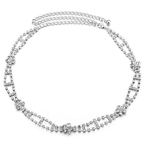 Tradico® Women Ajustable Bridal Diamante Belly Waistband Dress Waist Chain Belt Decor