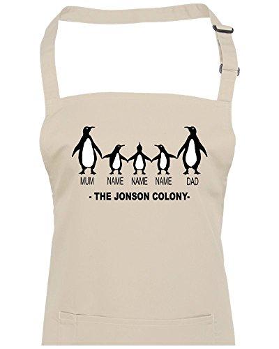 Famille personnalisé Penguin Colony (Email le nom que vous souhaitez) Unisexe Tablier de cuisine, naturel, Taille Unique