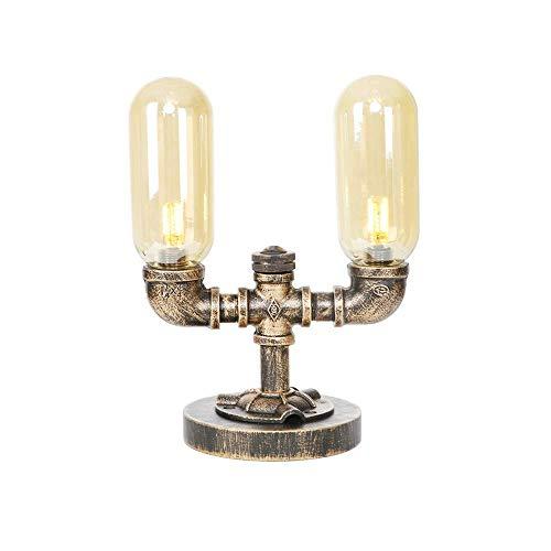 Steam Punk Loft Stil Desktop Licht 2 Lichter Industrie Vintage Stil Wasserpfeife Lampen, rustikale Bronze Metall Nachttisch Leuchten