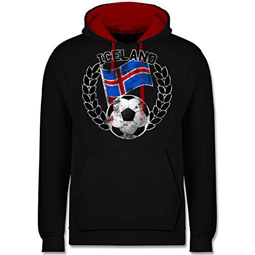 Fußball-WM 2018 - Russland - Iceland Flagge & Fußball Vintage - Kontrast Hoodie Schwarz/Rot