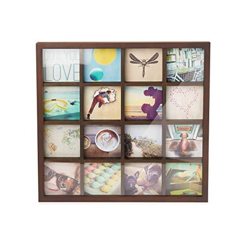 UMBRA Gridart. Cadre multivues Gridart, pour 16 photos format 10x10cm (instagram). Dimension du cadre : 432.2x43.2x3.2cm. Coloris bois noyer.
