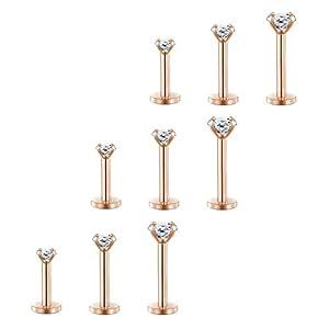 2-4mm Kalr Runde CZ Tragus Piercing 16G Lippenpiercing Medusa Monroe Labret Piercing Helix Ohr Piercing 6-10mm 9 Stück