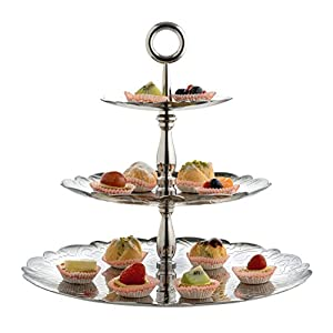 "Alessi ""Dressed for X-mas"" 18/10 Stainless Steel 3-Dish Cake Stand with Relief Decoration, Silver"
