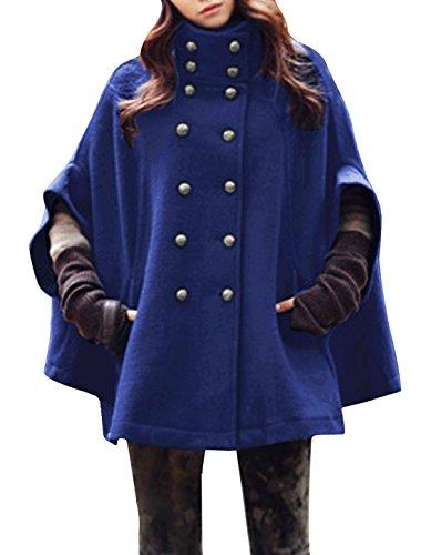 Allegra K Damen Mode Dolmanärmel Ärmel Zweireihig Kammgarn Poncho Mantel Blau