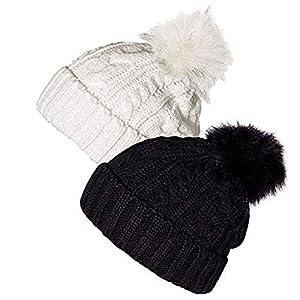 Schwarze und weiße Beanie-Mütze 2-teilige Damenwinter-Strickmütze mit künstlichen Bommeln
