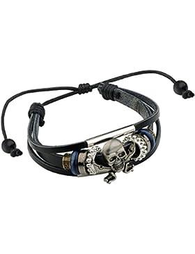 Merdia Echter Leder-Schädel Armband Einstellbare Armband Viking-Art-Armband Mit Schwarzen 10g