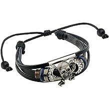 Merdia Cráneo Cuero Auténtico Pulsera Muñequera Ajustable Pulsera Con Estilo De Viking 10g Negro