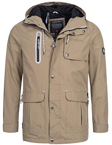Übergangsjacke   Übergangsparka   Kurz-Mantel für Herren Artichow von Geographical Norway - moderne outdoor Funktions-Jacke mit Kapuze Beige