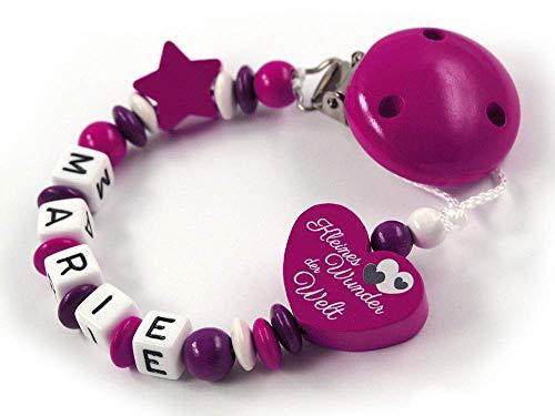 Schnullerkette mit Namen Mädchen - max. 7 Buchstaben - Herz