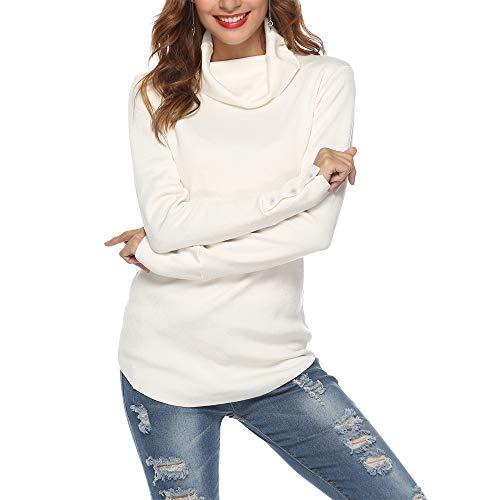 SIRUITON Damen Strickpullover Sweater Rollkragen Pullover Elegant Jumper Strick Pulli (Weiß, S)