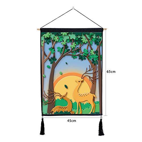 Cartoon elch hängen malerei kinderzimmer Dekoration malerei Hintergrund Baumwolle leinen quaste hängen malerei K 46 * 65 cm