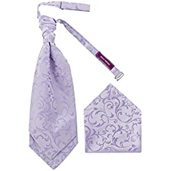 DressCode Cravat Set con pañuelo cuadrado de bolsillo, detalle de lunares en forma de corbata de boda tejida