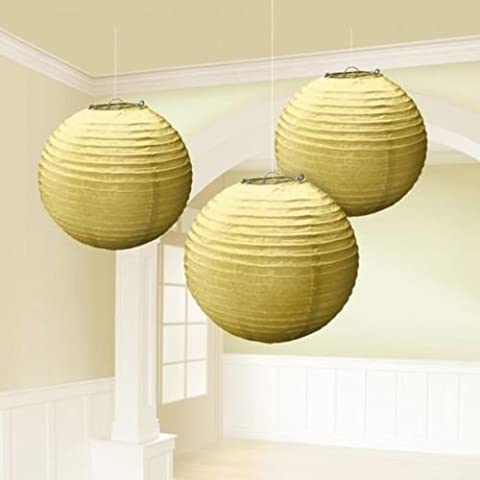 Gold Paper Hanging Lantern Party Decorations x 3