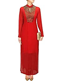 Ethnic Wings Women Faux Georgette Anarkali Semi-Stitched Salwar Suit (EW& ET_ER10748_Red_Free Size)