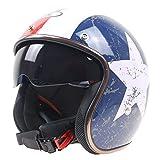 YAJAN-helmet Jet Casques de Moto,Dot la Certification de sécurité Vintage Cruiser...