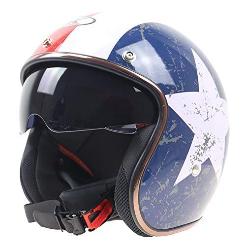 YAJAN-helmet Jet Vintage Helm Motorrad,DOT Zertifiziert Herren Damen mit Integriertem Sonnenvisier UVschutzbrille Schnellverschluss für Pedallokomotive Cruiser Roller Chopper Pilot 56-62cm