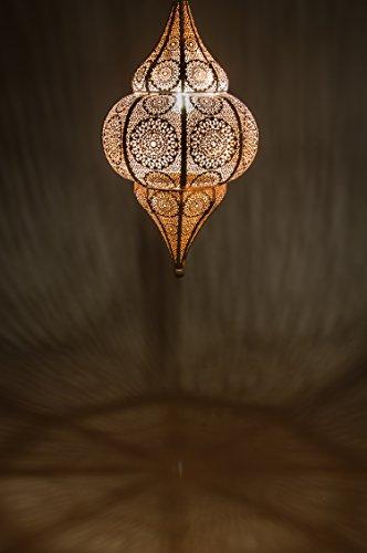 Lámpara Oriental Marroquí - lamparilla colgante - farola de techo Malha Blanco - 50cm - muy práctica para una iluminación excelente - transmite una decoración excelente refinada