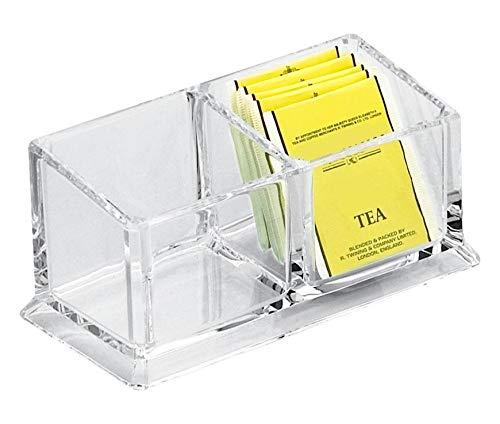 Teebox aus Acryl mit 2 Einteilungen, Acrylbox zur Aufbewahrung von Teebeuteln, Teebox ohne Deckel, Gastronomie-Qualität
