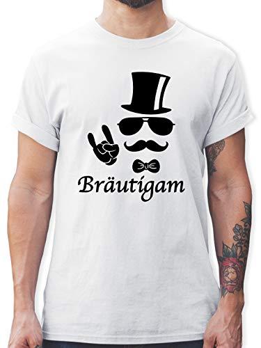 JGA Junggesellenabschied - Bräutigam Hipster Suit up - L - Weiß - L190 - Herren T-Shirt und Männer Tshirt