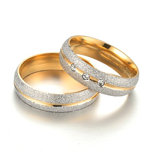 Ring Set Versprechen Krone (Edel Stahl Herren Versprechen Paar Ringe Set für Liebhaber 7-11)