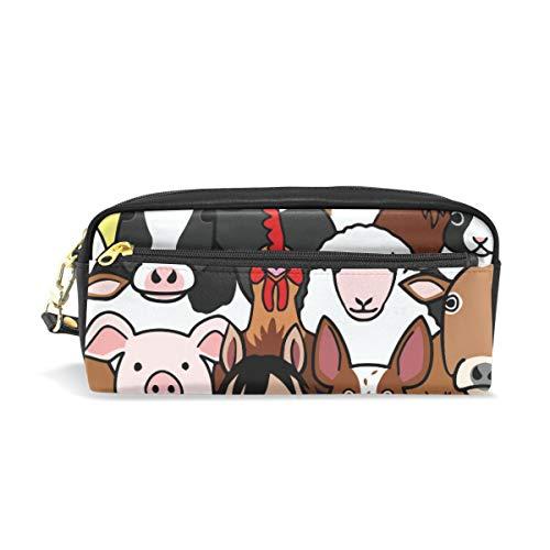 Federmäppchen für Kinder, Motiv: Kuh, Schwein, Pferd, Schaf, Hahn und Katze, für die Schule