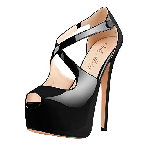 Damen Open Toe Plateau Stiletto High Heel Pumps Schluepfen Knoechel Cross Strap Buckle Party Schuhe (42, Schwarz)