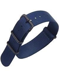 22 mm azul oscuro prima de lujo de estilo de la NATO robusto exótica nylon suave tipo Reloj pulsera de los hombres del deporte