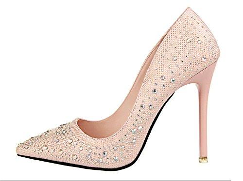 Wealsex Escarpin Strass Diamant Bout Pointu Talon Haute Aiguille Chaussure Soirée Mariage Club Mode Sexy Femme Rose