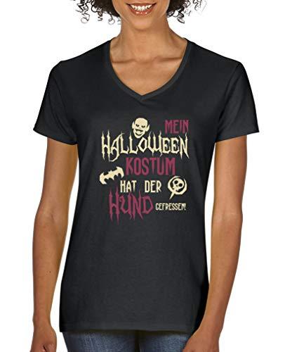 Comedy Shirts - Mein Halloween Kostuem hat der Hund gefressen - Damen V-Neck T-Shirt - Schwarz/Beige-Fuchsia Gr. XL (Besitzer Und Hund Halloween-kostüme)