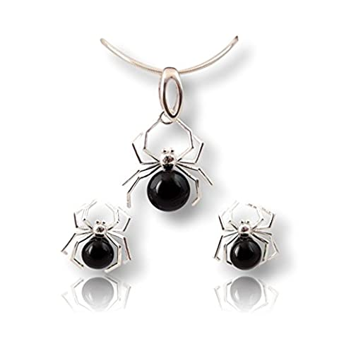 Crystals & Stones Pearls * black * * Spider * Jewellery Set Earrings and Necklace made with Swarovski Elements – A Fabulous Jewellery Ladies Elegant Schmuscketui Pin/75
